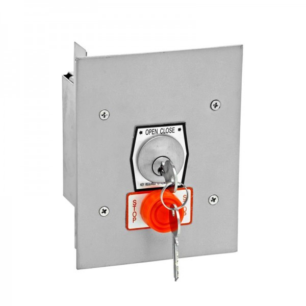 Exterior Flush Mount Keyswitch w/ Mortise Cylinder and Stop Button - MMTC 1KFSX
