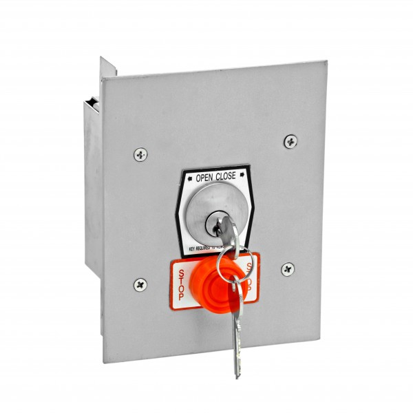 Exterior Flush Mount Keyswitch w/ Changeable Core Cylinder and Stop Button - MMTC 1KFSX-CC